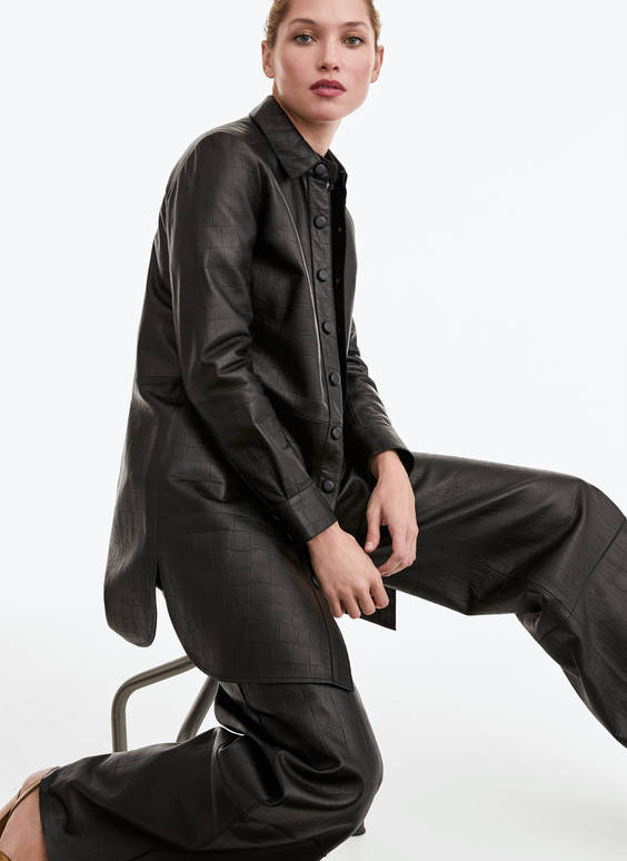 Embossed leather overshirt