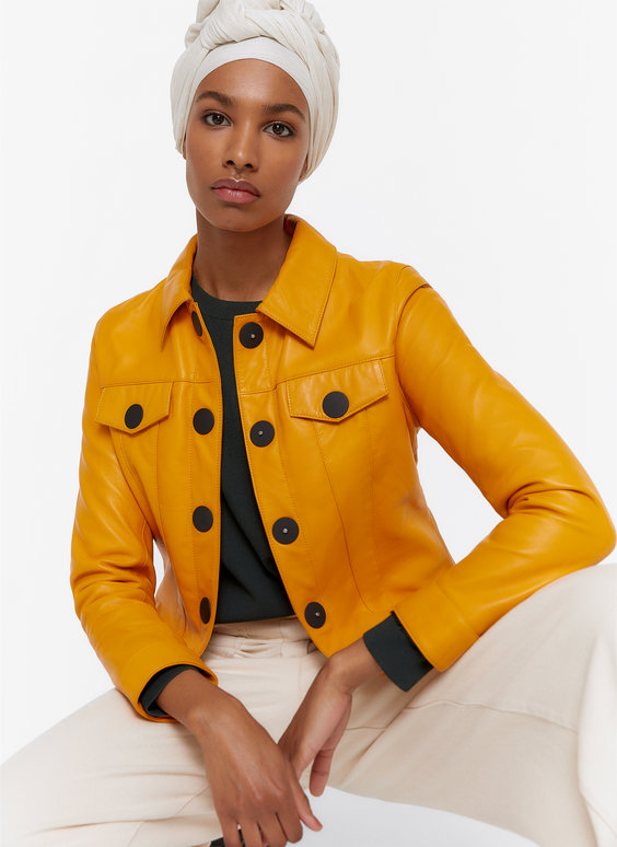 Yellow leather jacket