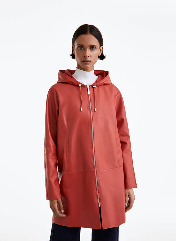 Orange leather parka