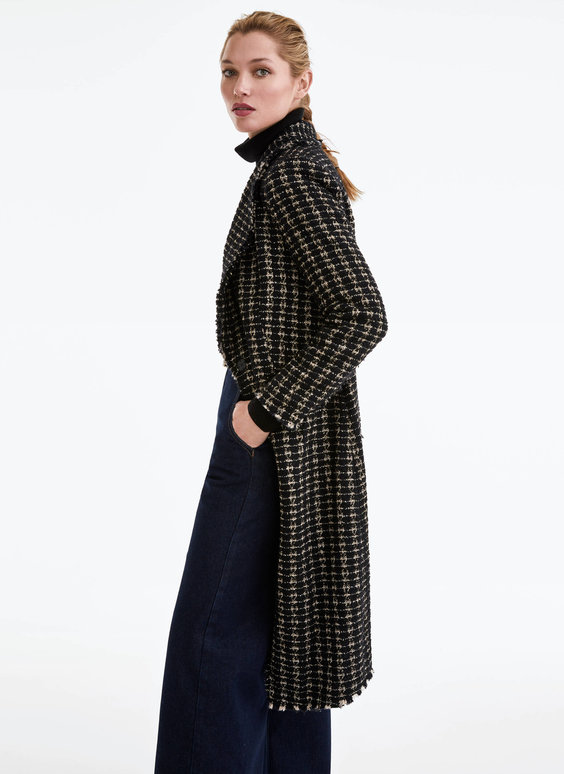 Textured coat with gem button