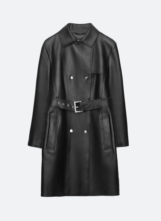 Leather coat with belt