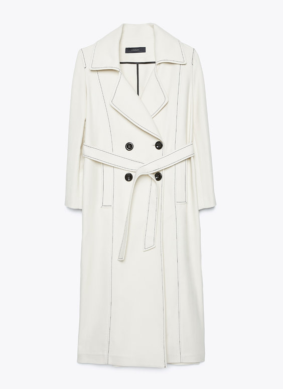 Trench coat with topstitching