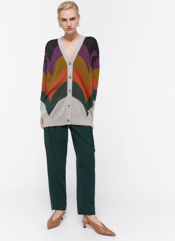 Multicoloured jacquard cardigan