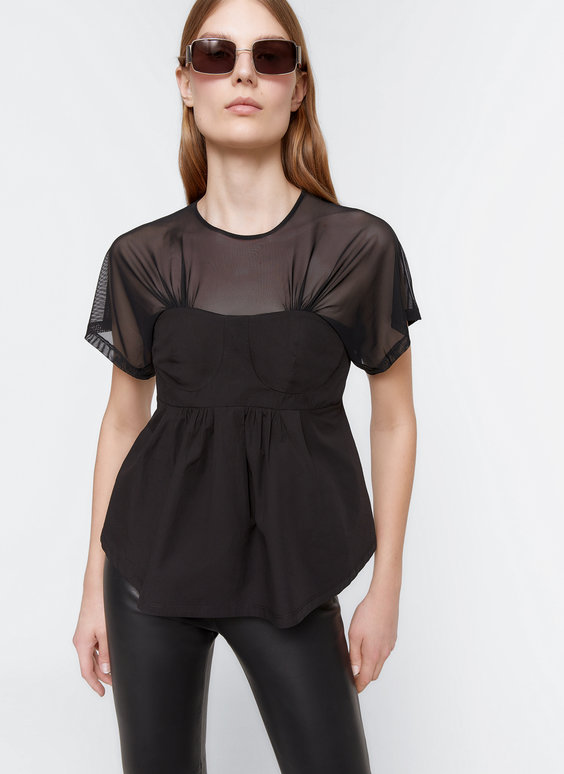 Corset T-shirt with sheer detail