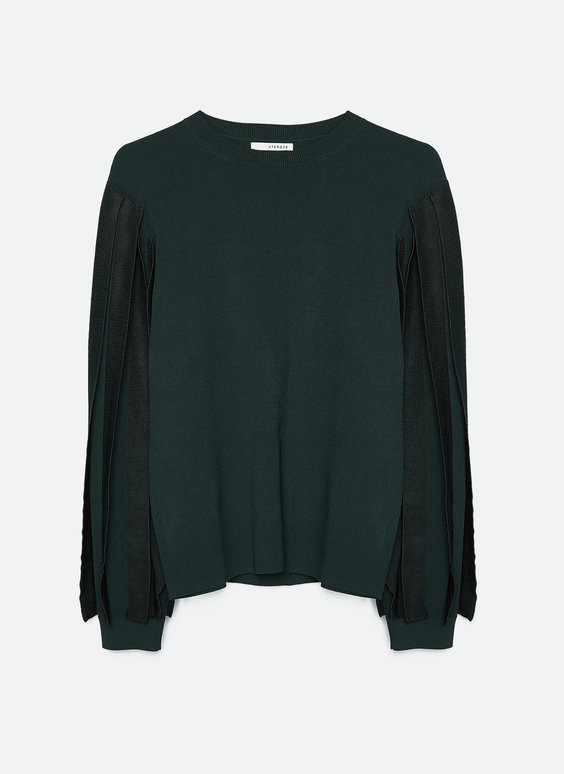 Sweater with embellished sleeves