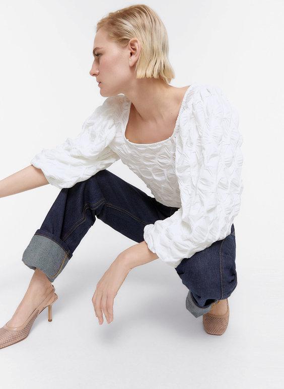 Waffle-knit blouse