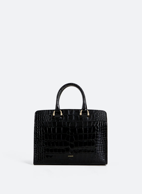 Mock croc leather bowling bag