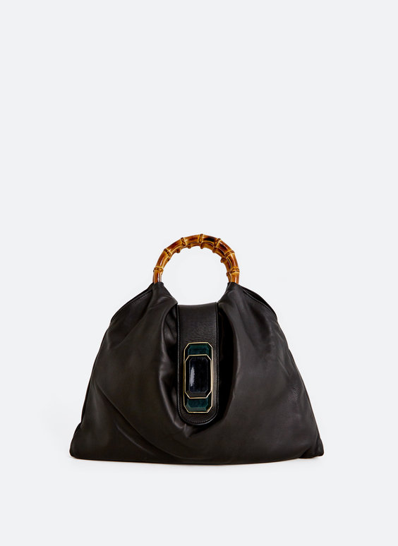 Leather handbag with front detail