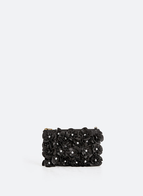 Floral leather clutch bag
