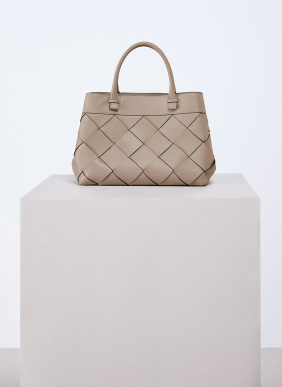 Large woven leather bag