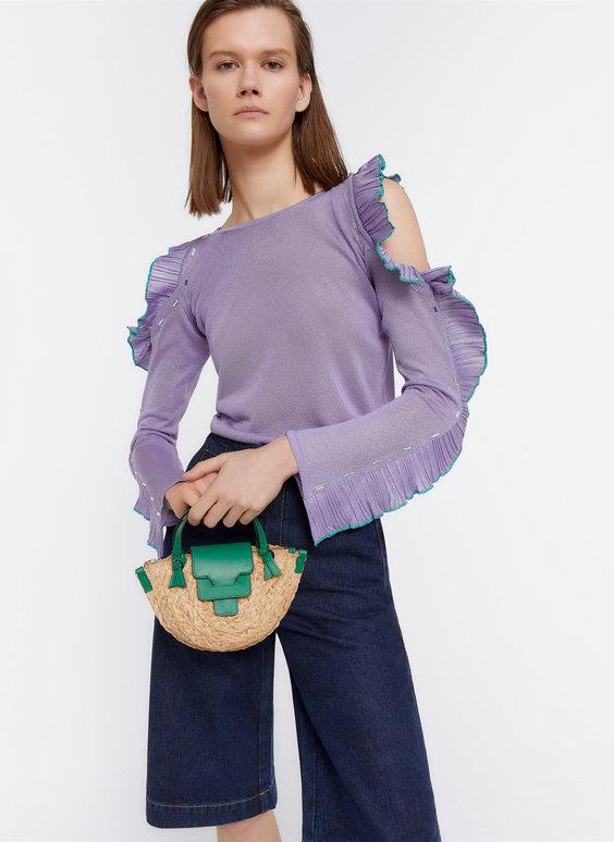Mini raffia handbag