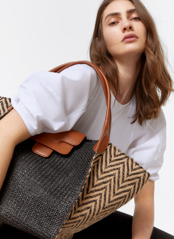 Two-tone raffia tote bag