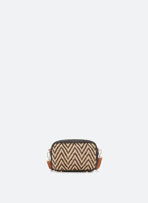 Crossbody bag with two-tone raffia