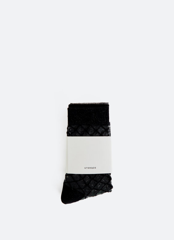 Embellished open-knit socks