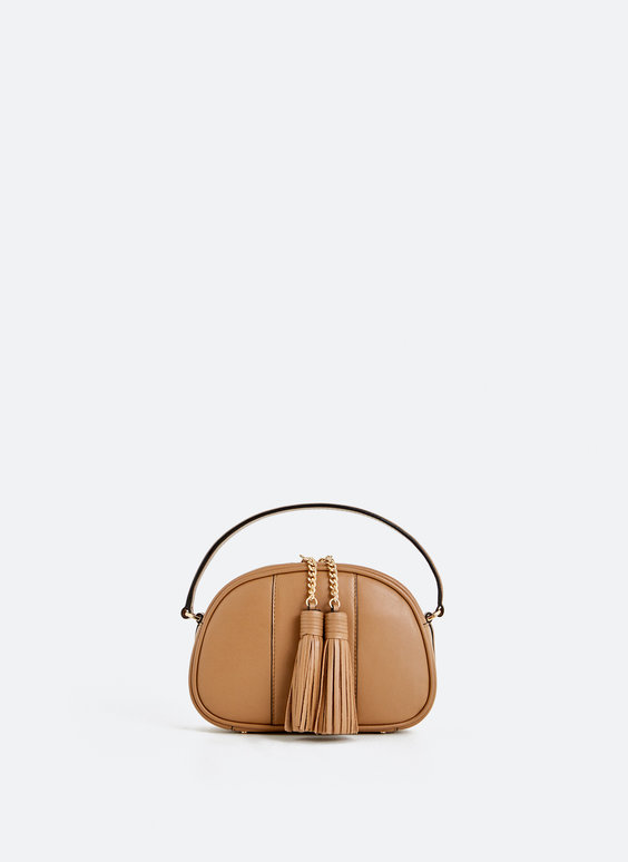 Leather crossbody bag with two tassels