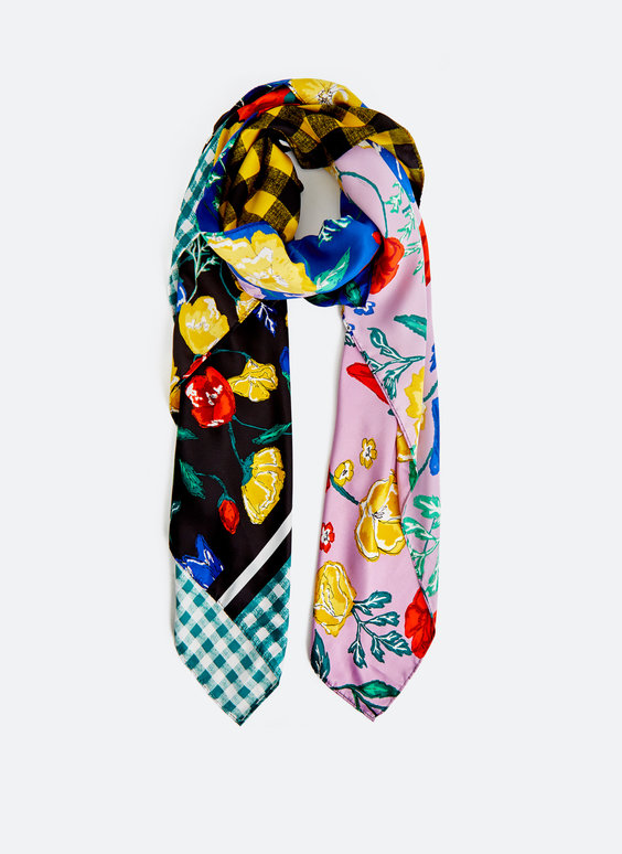 Coloured patchwork and floral print scarf