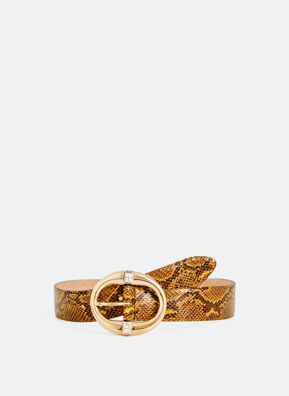 Leather snakeskin print belt with gem buckle