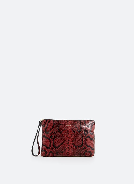 Snakeskin print leather clutch