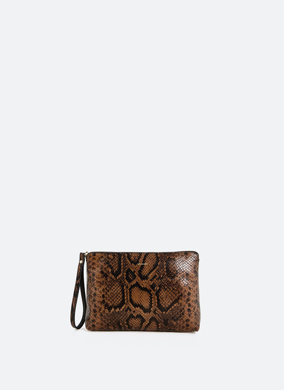 Clutch in pelle effetto serpente