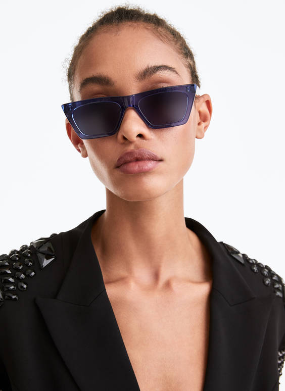 Rectangular blue sunglasses