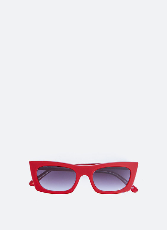 Red rectangular sunglasses