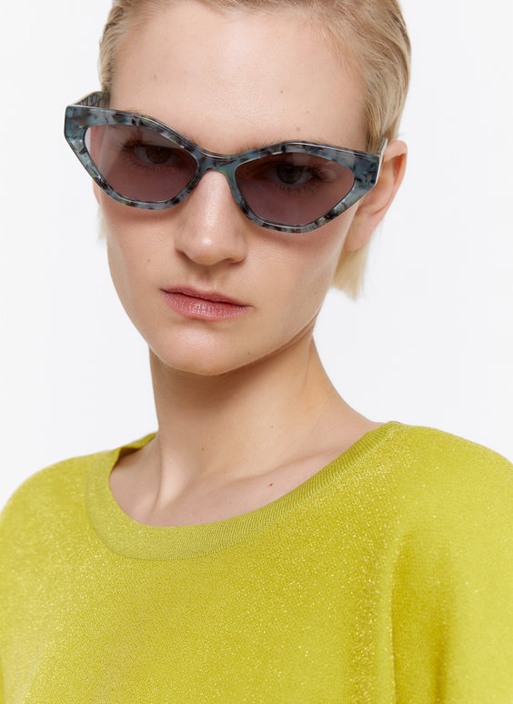 Blue tortoiseshell hexagonal sunglasses