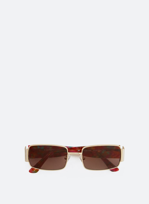 Rectangular sunglasses with wide temples