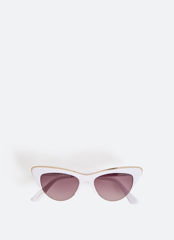 White cat-eye style sunglasses