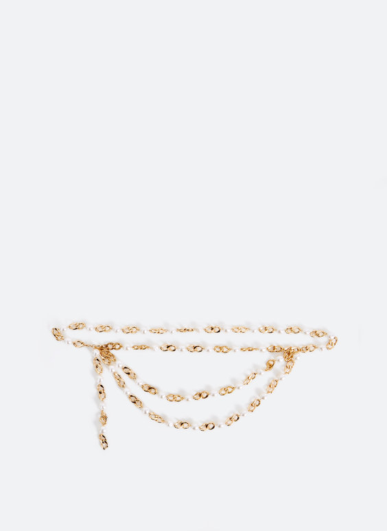 Faux pearl chain belt