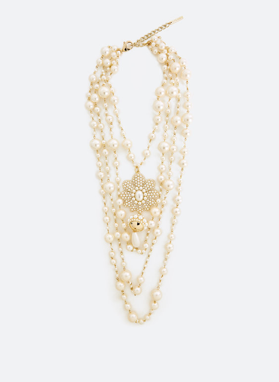 Faux pearl and rosette necklace