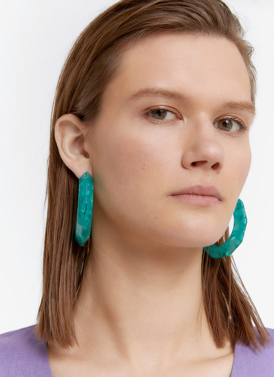Jade-toned hoop earrings