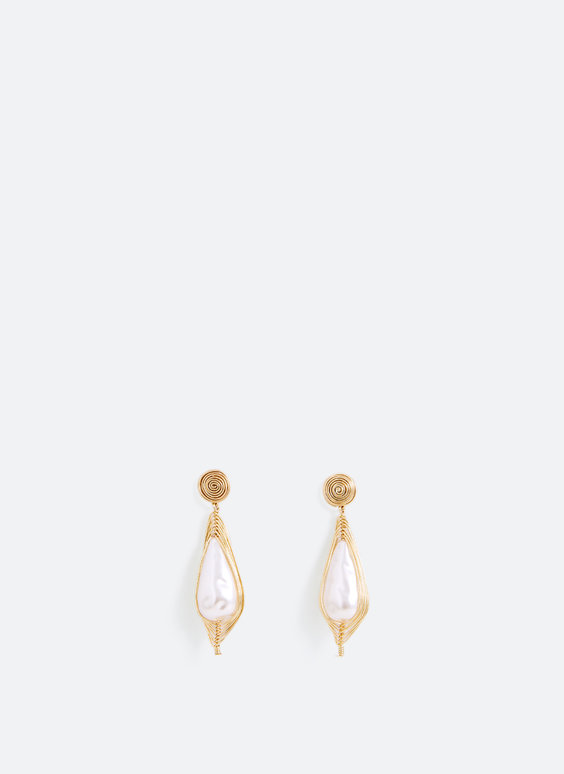Faux pearl teardrop earrings