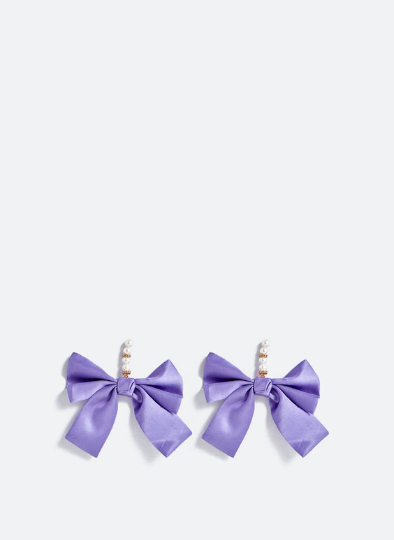 Purple bow earrings