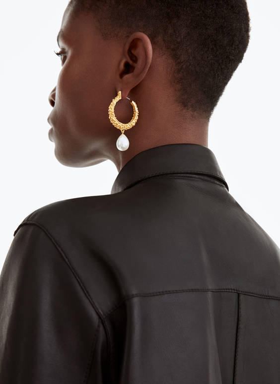 Limited edition faux pearl hoop earrings