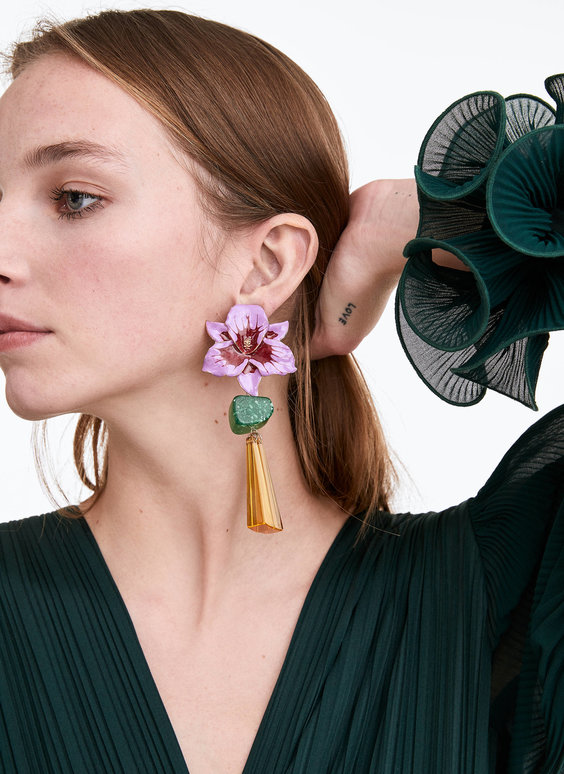 Three-tone flower earrings