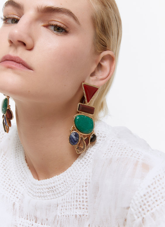 Multi-coloured stone earrings