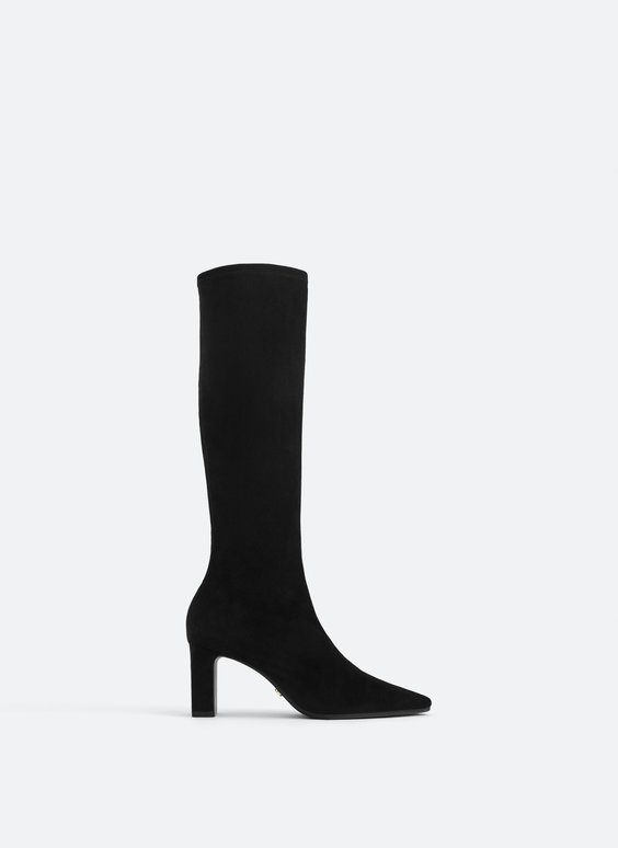 Suede knee-high stretch boots