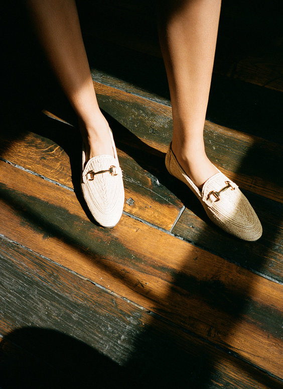 Raffia horsebit loafers