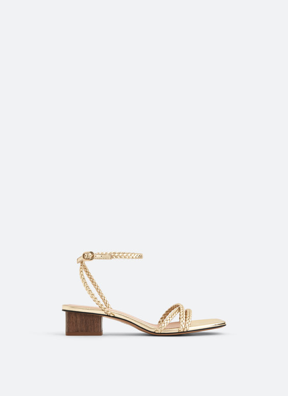 Braided gold sandals