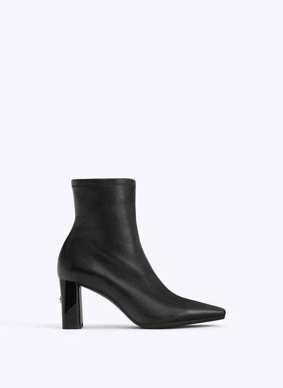 Leather ankle boots with high logo heel