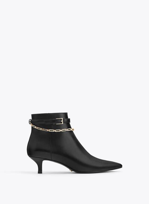 Leather ankle boots with removable chain
