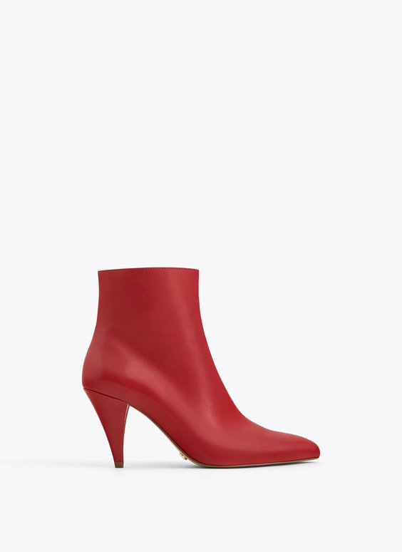 Red leather heeled ankle boots