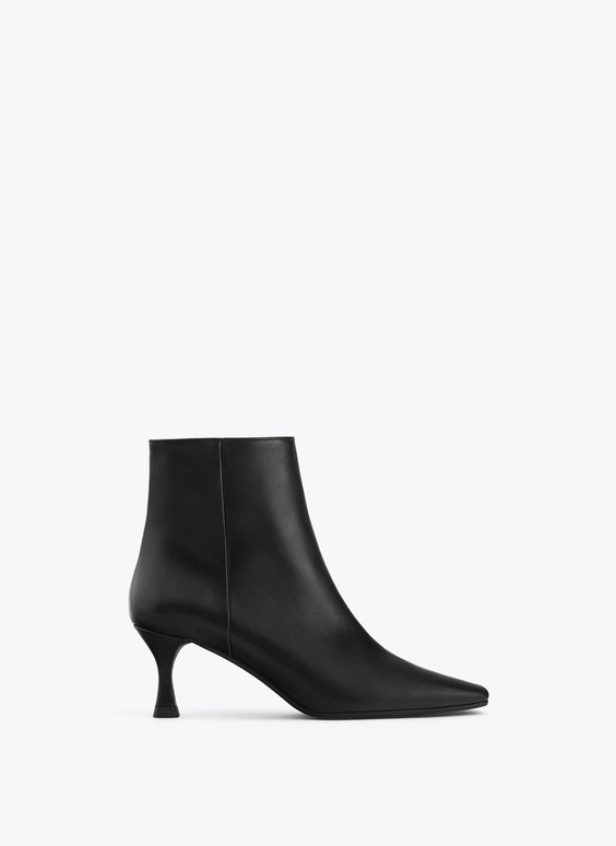Leather stiletto-heel ankle boots