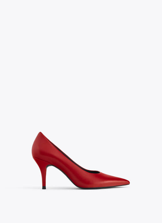 Red leather high-heel court shoes