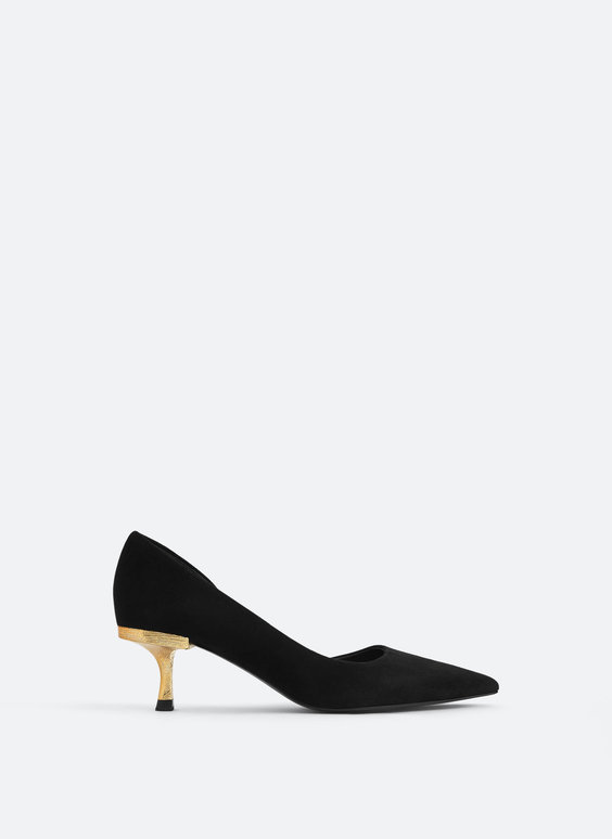 Asymmetric suede court shoes