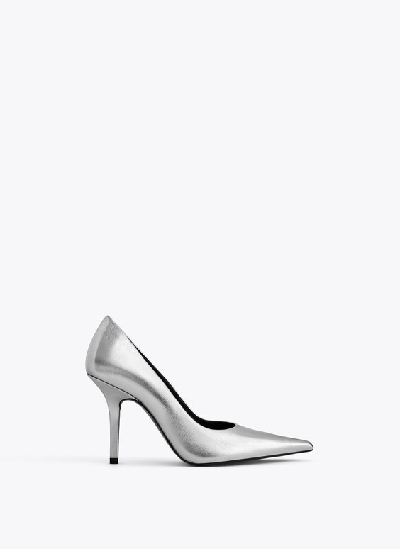 Metallic leather court shoes