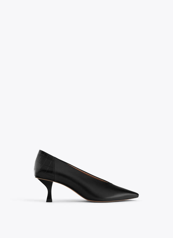 Mock croc leather heel court shoes