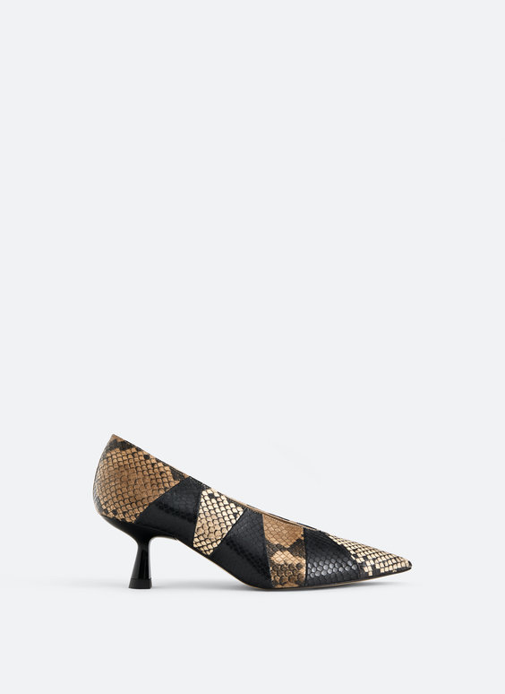 Contrast print leather court shoes