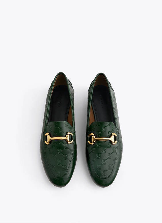 Green logo leather loafers