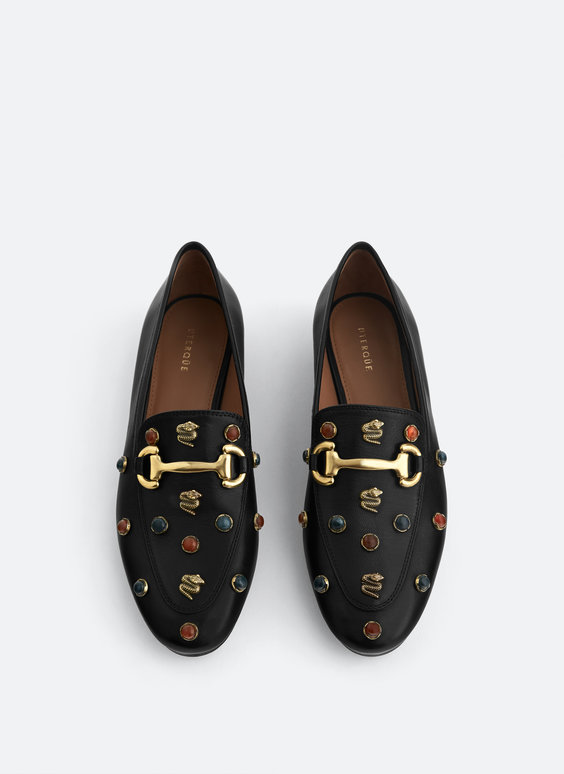 Leather loafers with stones